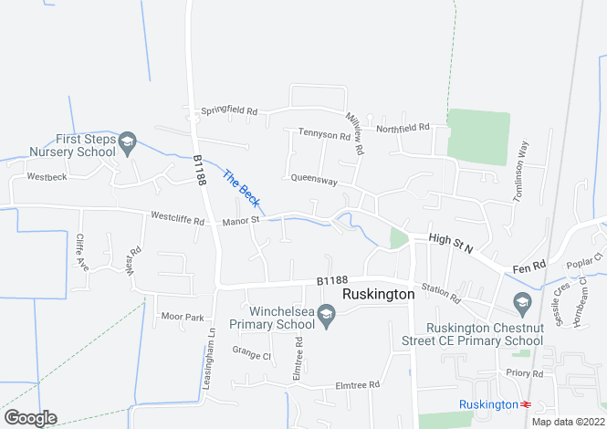 Map for Manor Street, Ruskington, Sleaford, Lincolnshire