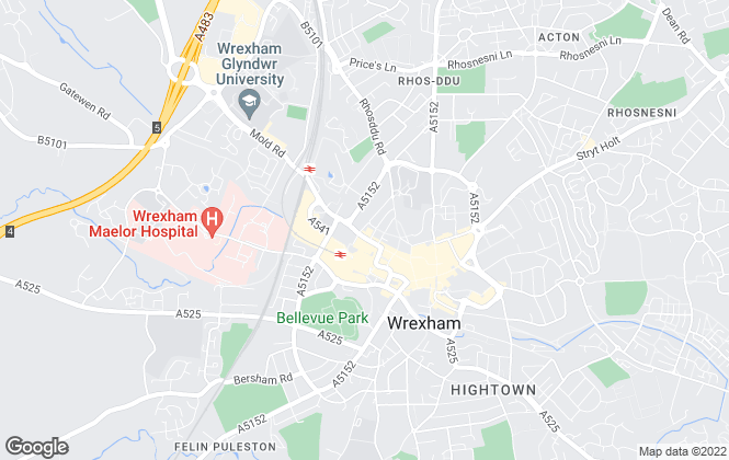 Map for Mason Evans, Wrexham