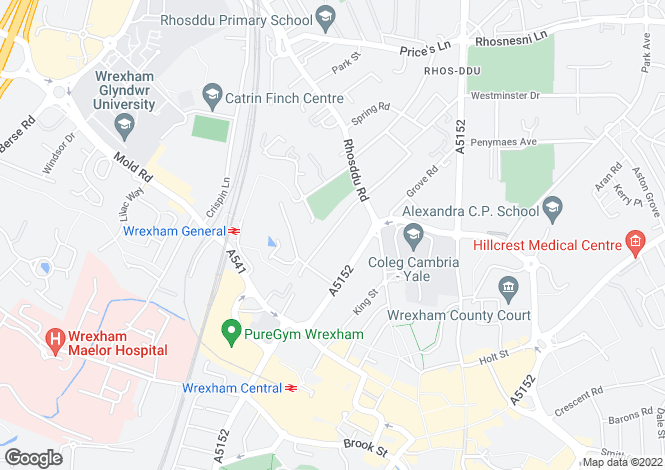 Map for Vernon Street, Wrexham