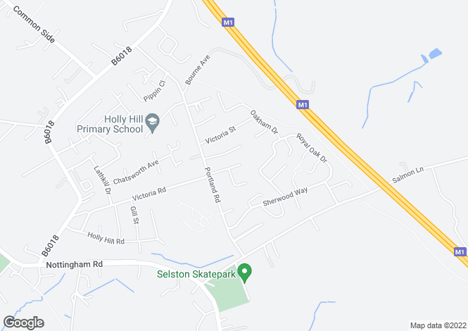 Map for Upper Mexborough Road Selston