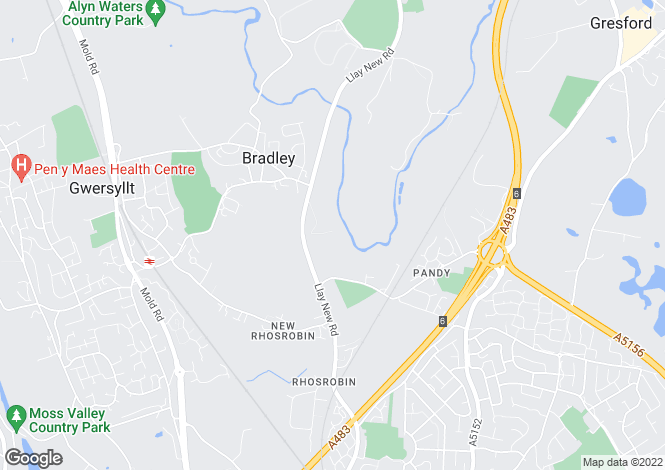 Map for Llay New Road, Bradley, Wrexham, Clwyd