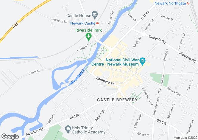 Map for Castle Gate Centre, Castle Gate, Newark, Nottinghamshire