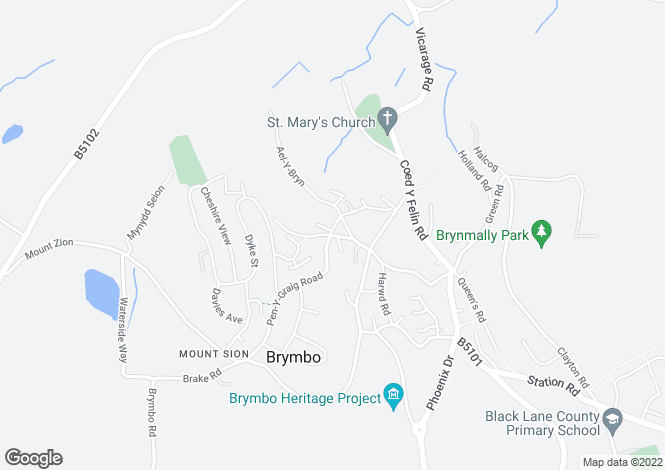 Map for Bryn Y Ffynn, Brymbo