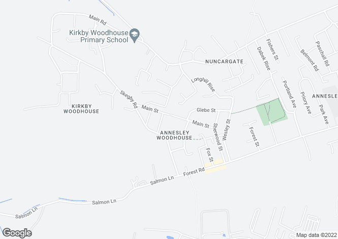 Map for Main Street, Annesley Woodhouse