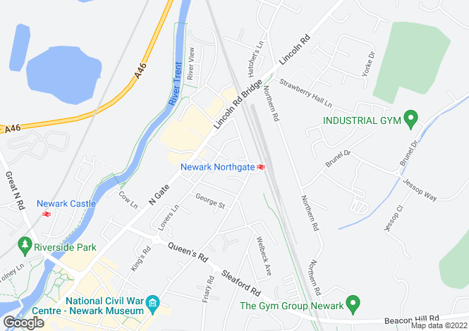 Map for Higgins Close, NEWARK