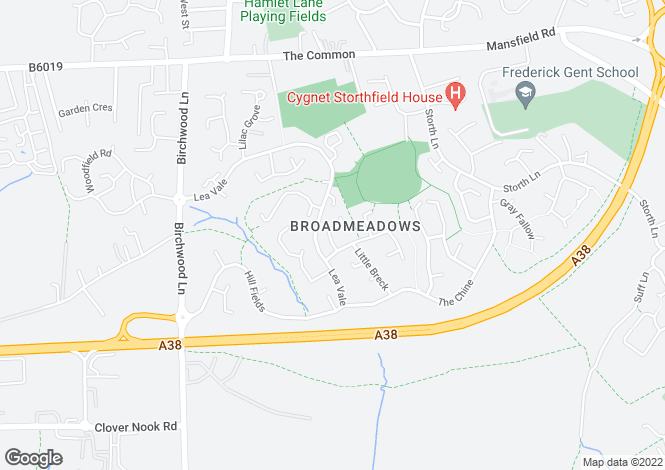Map for Larchdale Close, Broadmeadows, South Normanton