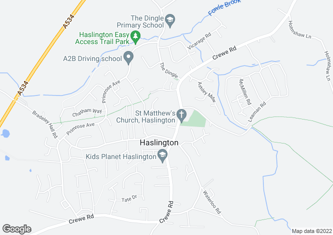 Map for 1 School Street, Haslington