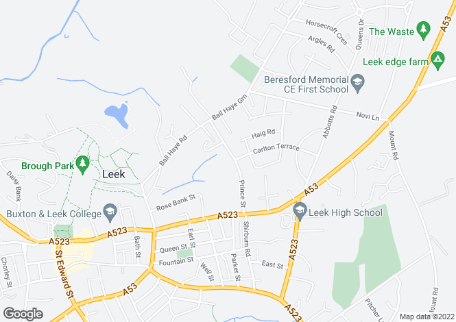 Map for 64-66 Prince Street, Leek, Staffs