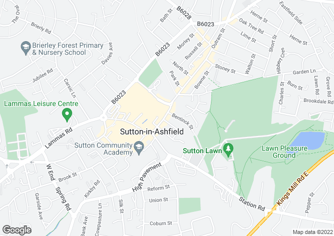 Map for Outram Street, Sutton In Ashfield