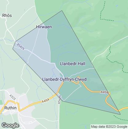Map of property in Llanbedr Dyffryn Clwyd