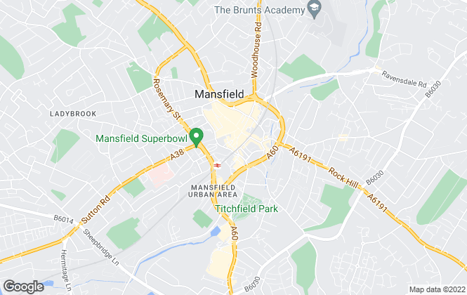 Map for Frank Innes Lettings, Mansfield
