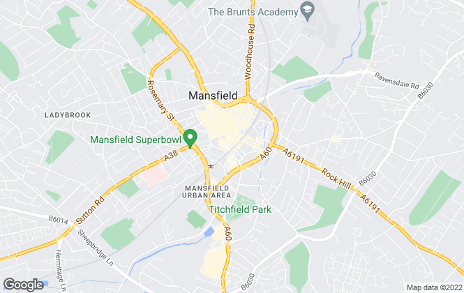 Map for Newton Fallowell, Mansfield