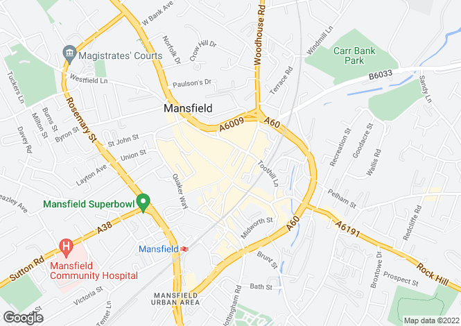 Map for 18, Regent Street, Mansfield, Notts