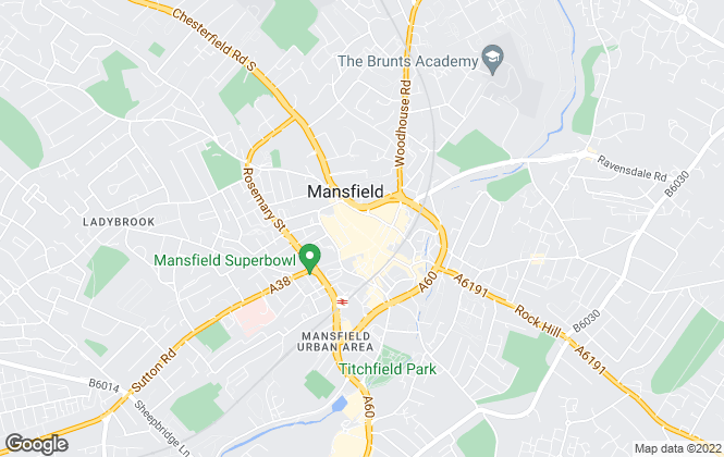 Map for Bairstow Eves, Mansfield