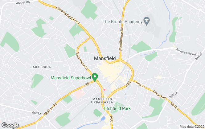 Map for ZEBRAlets, Mansfield - NG18