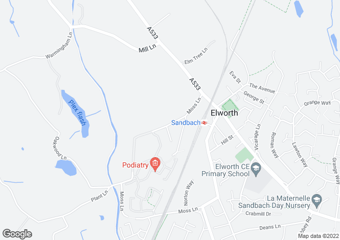 Map for Moss Lane, Sandbach