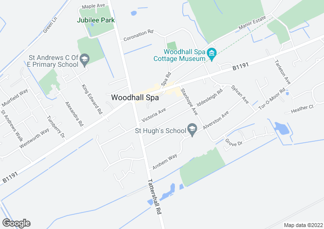 Map for Victoria Avenue, Woodhall Spa