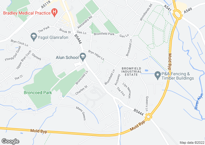 Map for Bromfield Close, Mold