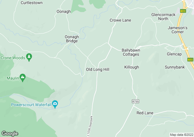 Map for Chimney Corner, Old Long Hill, Enniskerry, Co. Wicklow, A98 V8PO