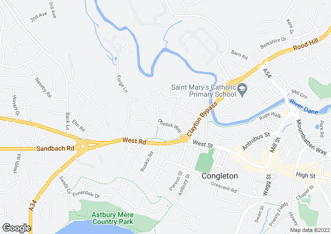 Map for Obelisk Way, Congleton, CW12