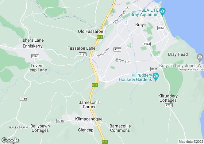 Map for Silverstream, Ballywaltrim Lane, Bray, Co. Wicklow