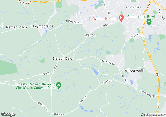 Map for Stoneleigh, Harper Hill, Wingerworth, Chesterfield, S42 6QS