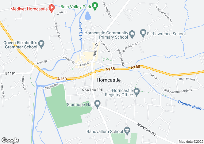 Map for 30 East Street, Horncastle, Lincolnshire