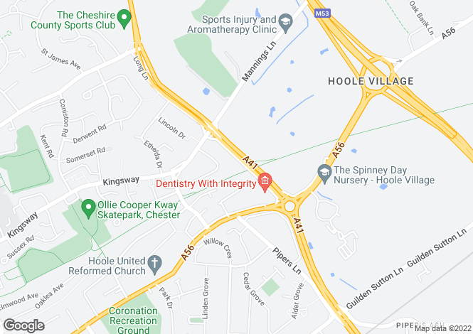 Map for Palm Valley, Hoole Village, Chester
