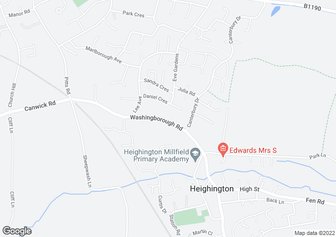 Map for Washingborough Road, Heighington