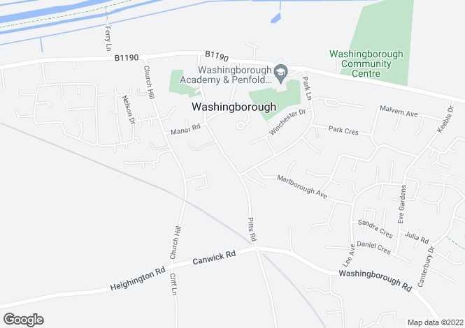 Map for Pitts Road, Washingborough, Lincoln