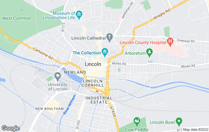 Map for Newton Fallowell, Lincoln, Sales and Lettings