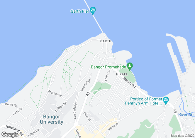 Map for Garth Road, Bangor