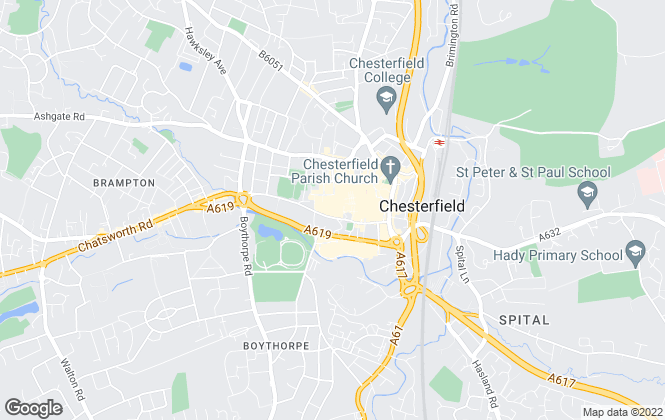 Map for Martin & Co, Chesterfield - Lettings & Sales