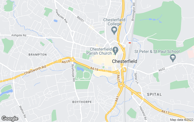 Map for On The Move , Chesterfield