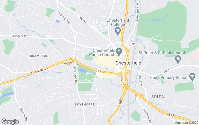 Map for Martin & Co, Chesterfield