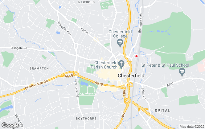 Map for Reeds Rains Lettings, Chesterfield