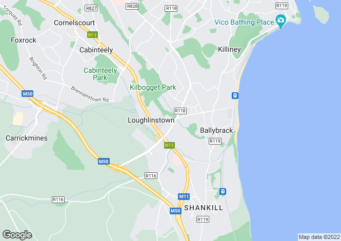 Map for 58 Wyattville Park, Loughlinstown, Dublin 18