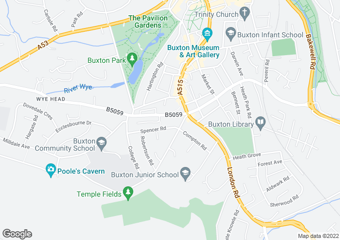 Map for West Road, Buxton