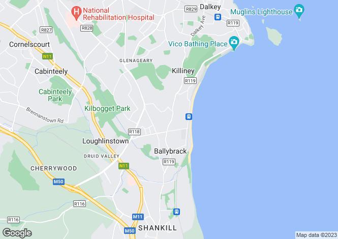 Map for Killiney Hill Road, Killiney, Co Dublin