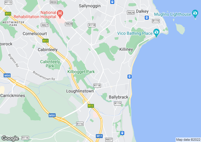Map for Killiney, Dublin