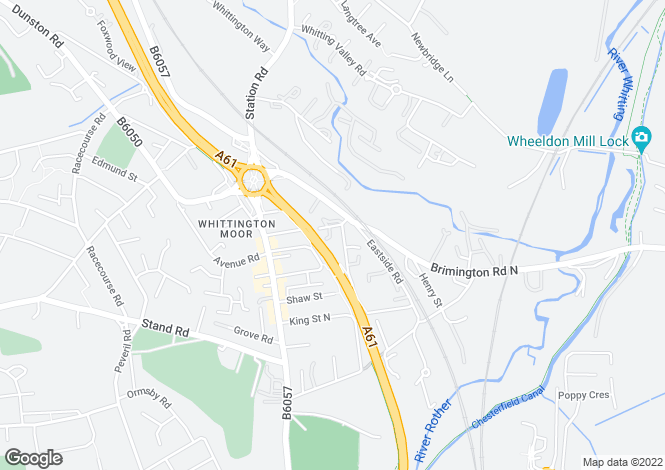 Map for Thompson Close, Whittington Moor, CHESTERFIELD