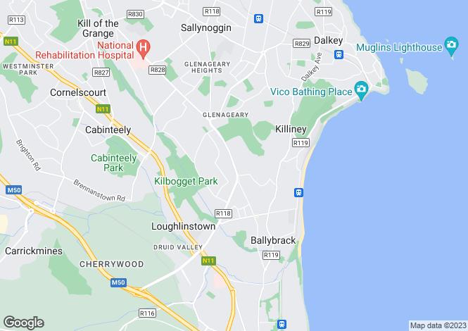 Map for Oak Lodge, Violet Hill, Church Road, Killiney,   County Dublin