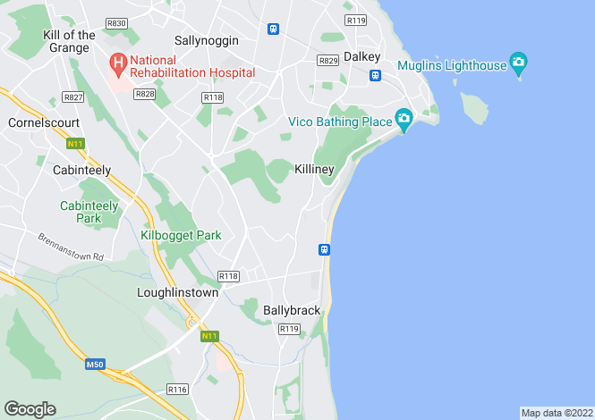 Map for Killiney Hill Road, Killiney, Co. Dublin
