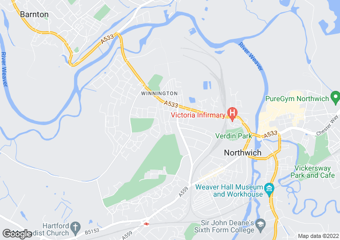 Map for Gordale Close, Winnington, Northwich