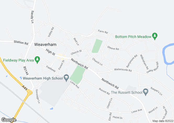 Map for Church Close, Weaverham, CW8