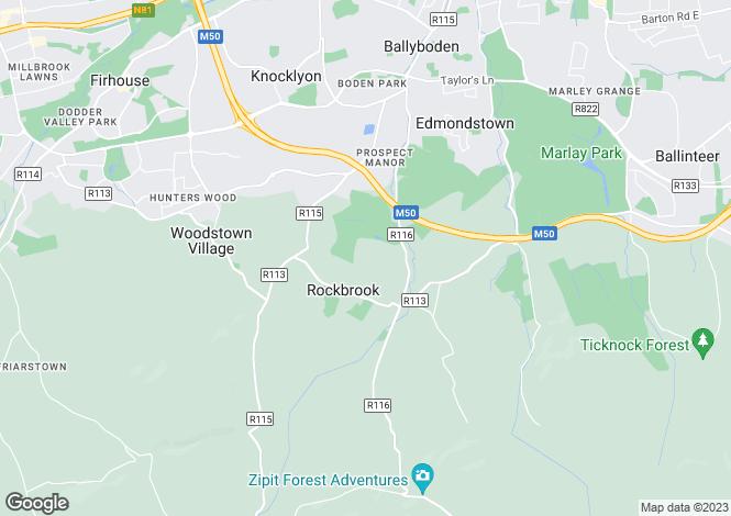 Map for Ashbury, Rockbrook, Rathfarnham, Dublin 16