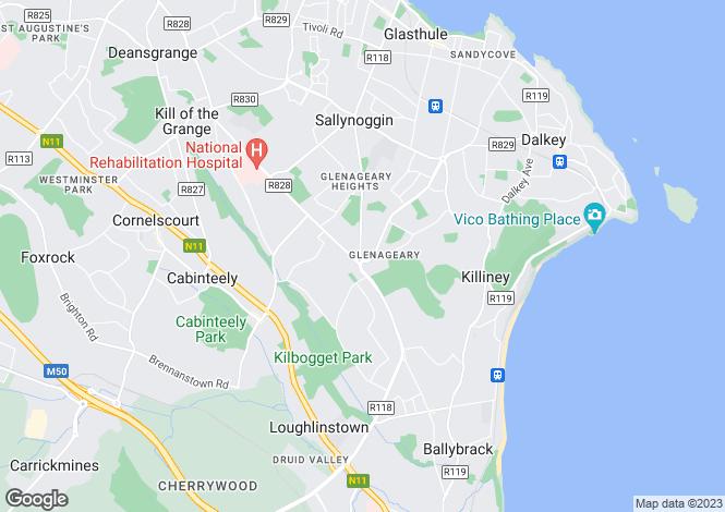 Map for Glenageary, Dublin