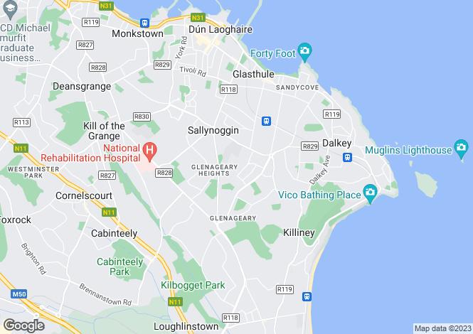 Map for Dublin, Glenageary