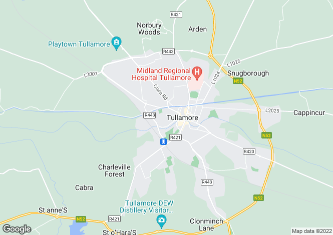 Map for O'Molloy Street, Tullamore, Offaly
