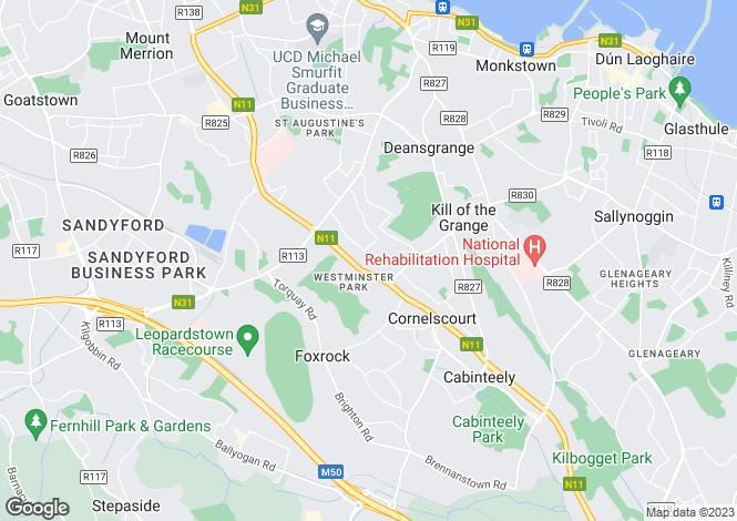 Map for Foxrock, Dublin